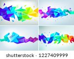 vector set of abstract facet 3d ... | Shutterstock .eps vector #1227409999