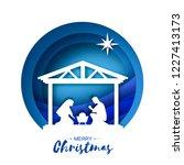 birth of christ. baby jesus in... | Shutterstock .eps vector #1227413173