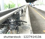 high voltage cable on the... | Shutterstock . vector #1227414136