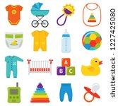 baby icons. baby shower... | Shutterstock . vector #1227425080