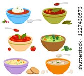 vector set of bowls of soup... | Shutterstock .eps vector #1227430573