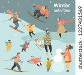 winter activities set with...   Shutterstock .eps vector #1227431569