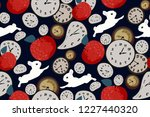 Stock vector abstract seamless pattern with clock red apples and rabbits on dark blue background hand drawn 1227440320
