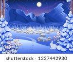 winter night forest landscape... | Shutterstock .eps vector #1227442930