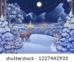 winter night forest landscape... | Shutterstock .eps vector #1227442933