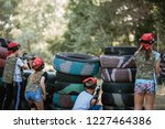 kids playing lasertag on... | Shutterstock . vector #1227464386