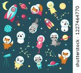 space icon set. illustration of ... | Shutterstock . vector #1227464770