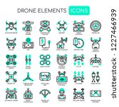 drone elements   thin line and... | Shutterstock .eps vector #1227466939