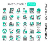 save the world   thin line and... | Shutterstock .eps vector #1227466969