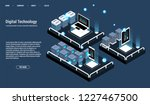 isometric server room and big... | Shutterstock .eps vector #1227467500