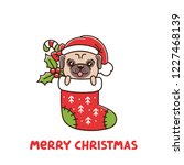 ute dog breed pug as a gift in ... | Shutterstock .eps vector #1227468139