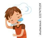 little boy sleeping and snoring.... | Shutterstock .eps vector #1227475159