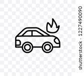 burning car vector linear icon... | Shutterstock .eps vector #1227490090