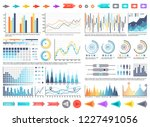 charts and pie diagrams with... | Shutterstock .eps vector #1227491056