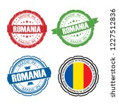 stamp made in romania label set ...   Shutterstock .eps vector #1227512836
