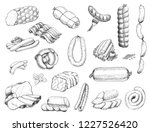 vector set of different meat... | Shutterstock .eps vector #1227526420