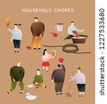 people doing household chores... | Shutterstock .eps vector #1227533680