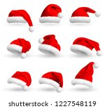 collection of red santa claus... | Shutterstock .eps vector #1227548119