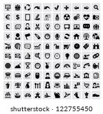 vector black 100 web icons set... | Shutterstock .eps vector #122755450