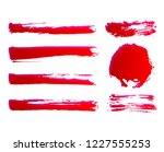 set of hand painted red ink... | Shutterstock .eps vector #1227555253