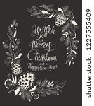 hand drawn christmas floral... | Shutterstock .eps vector #1227555409