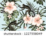 tropical vintage monkey  peach... | Shutterstock .eps vector #1227558049