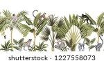 tropical vintage wild animals ... | Shutterstock .eps vector #1227558073