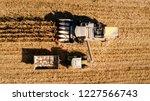harvesting corn aerial details. ... | Shutterstock . vector #1227566743