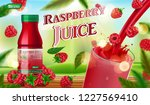 raspberry juice bottle with... | Shutterstock .eps vector #1227569410