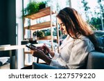 attractive girl in white shirt... | Shutterstock . vector #1227579220