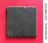 black square stone plate on red ... | Shutterstock . vector #1227589153