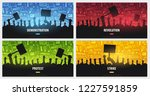 silhouettes crowd of people... | Shutterstock .eps vector #1227591859
