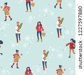 christmas seamless pattern with ... | Shutterstock .eps vector #1227597880