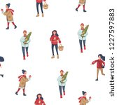 christmas seamless pattern with ... | Shutterstock .eps vector #1227597883