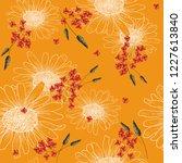 tropical vector seamless flower ... | Shutterstock .eps vector #1227613840