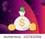new pile of cash. profit ... | Shutterstock .eps vector #1227632506