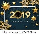 blue happy new year 2019 card... | Shutterstock .eps vector #1227656086