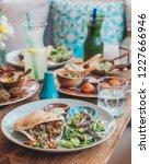 mezze platter with hummus and...   Shutterstock . vector #1227666946