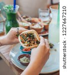 mezze platter with hummus and... | Shutterstock . vector #1227667210