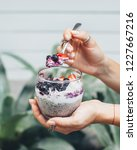 chia pudding with a spoon   Shutterstock . vector #1227667216