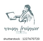 freelancer woman using laptop... | Shutterstock .eps vector #1227670720