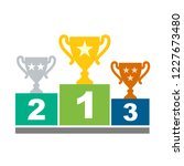 winners podium with cups.... | Shutterstock .eps vector #1227673480