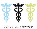 caduceus with wings. set of... | Shutterstock .eps vector #122767450