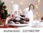 chocolate brownie cookies in... | Shutterstock . vector #1227682789