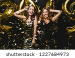 beautiful women celebrating new ... | Shutterstock . vector #1227684973