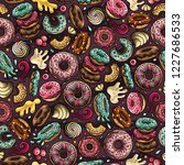 cartoon hand drawn donuts... | Shutterstock .eps vector #1227686533