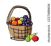 fruits in wicker basket. fall... | Shutterstock .eps vector #1227688606