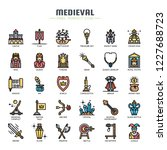 medieval elements   thin line... | Shutterstock .eps vector #1227688723