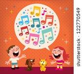kids singing | Shutterstock . vector #122770549