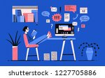 Stock vector girl sitting with her legs on desk with computer and reading book instead of working under tasks 1227705886
